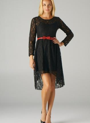 Black Hi-Lo Lace Dress with Red Bow Belt