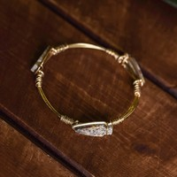 After The Rain Multi Natural Stone Wire Detail Bracelet (Gold/Grey)
