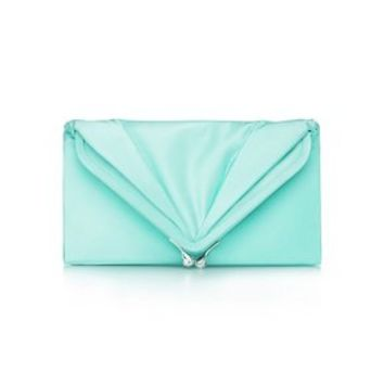 Tiffany & Co. -  Savoy clutch in Tiffany Blue® satin. More colors available.