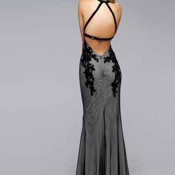 Faviana 7722 Fishnet Halter Prom Gown - RissyRoos.com