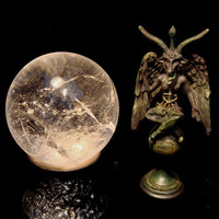 Brilliant Quartz Crystal Ball on Antique Stand at Gothic Rose Antiques