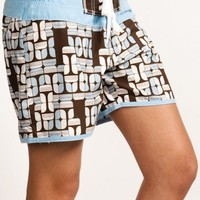 Surfanic Womens Geo Boardshorts Blue