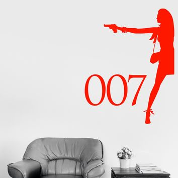 Vinyl Wall Decal Agent Spy Girl Woman With Gun Pistol Stickers (2477ig)
