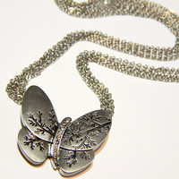 Vintage Butterfly Necklace - Silver - With Rhinestones And Engraved Branch Pattern