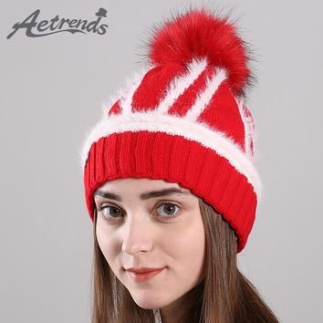 [AETRENDS] 2017 Winter Beanie Hats for Women Warm With Velvet Inside Knitted Female Caps Beanies Pompom with Top Ball Z-6169