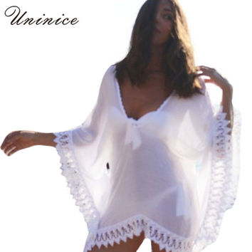 Sexy Womens summer style dress Beach Wear Chiffon Lace Crochet Bikini Swimming beach cover up swimwear Shirt