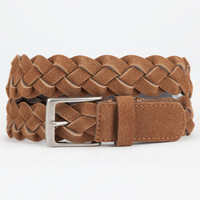 Braided Suede Mens Belt Tan  In Sizes