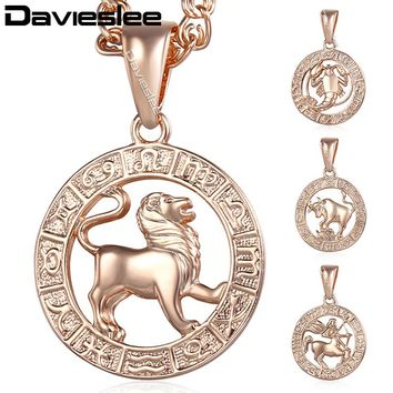 Davieslee Pendant Necklace for Women 12 Zodiac Sign Constellation Rose Gold Filled Womens Necklaces Round Shaped Pendants LGPM16