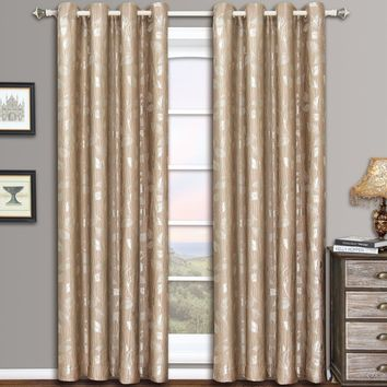Mocha Charlotte Pair (Two Panels ) Jacquard Grommet Curtain Panels