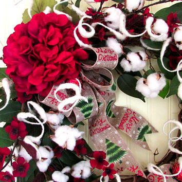 Christmas door wreath, Christmas cotton wreath, cotton boll wreath, holiday wreath, red white wreath, Rustic wreath, country Christmas