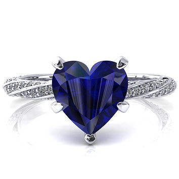 Elysia Heart Blue Sapphire 5 Prong 3/4 Eternity Diamond Accent Ring