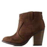 Brown Chunky Heel Ankle Booties by Charlotte Russe