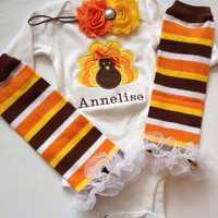 BABY girl Thanksgiving Turkey Outfit by AboutASprout on Etsy