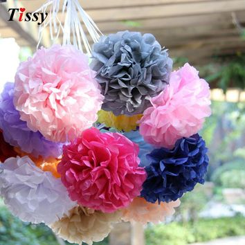 "20pcs 4"" (10cm)Tissue Paper Pom Poms Wedding Decorative Props Flower Kissing Pompom Balls for Wedding party home Decoration"