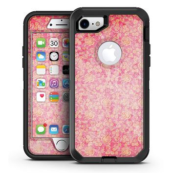 Grungy Floral Pattern Over Scratched Pink - iPhone 7 or 7 Plus OtterBox Defender Case Skin Decal Kit