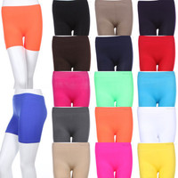 Seamless Basic Plain Solid Athletic Layering Shorts Leggings Spandex ONE SIZE