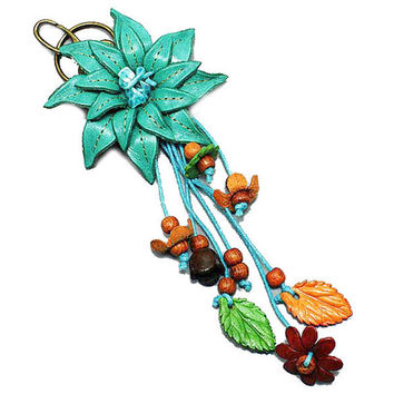 Turquoise Leather Flower Multi-Color Wood Bead Flower Key Chain, Purse Accessory, Bag Charm, gift  USA SELLER