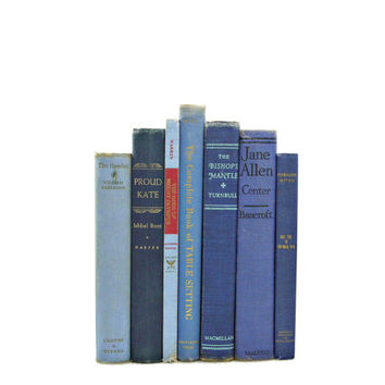 Shabby Chic Blue Decorative Books, 1940s Book Collection Decor, Wedding Centerpiece Rustic Home Decor, Old, Wedding Decor, Interior Design