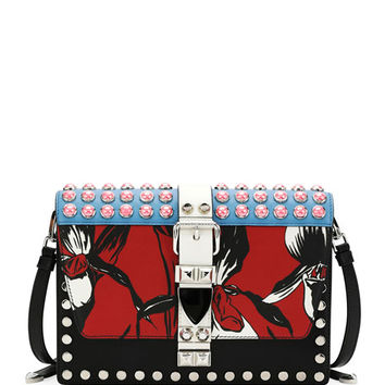 Prada Printed and Studded Flat Crossbody Bag