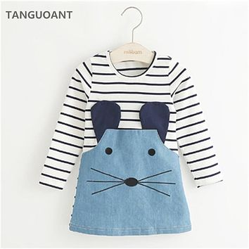 [Big Sale+Free Shipping]Striped Patchwork Character Girl Dresses Long Sleeve Cute Mouse Children Clothing Kids Girls Dress Denim Kids Clothes