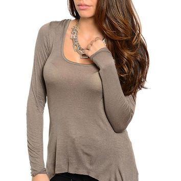 Hooded Long Sleeve Hi-Low Top