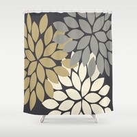 Flower SHOWER CURTAIN, Gray Gold, Flower Bathroom, Custom MONOGRAM Personalized, Floral Bathroom Decor, Bath Towel, Plush Bath Mat