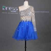 Sexy Royal Blue One Shoulder Long Sleeves Beading Rhinestones Short Homecoming Dress/Sexy See Through Mini Party Dres/Homecoming Dress DH262