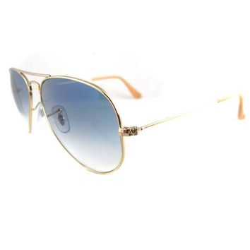 Kalete Ray-Ban Sunglasses Aviator 3025 001/3F Gold Blue Small 55mm