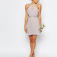 TFNC WEDDING Embellished Pleated Mini Dress