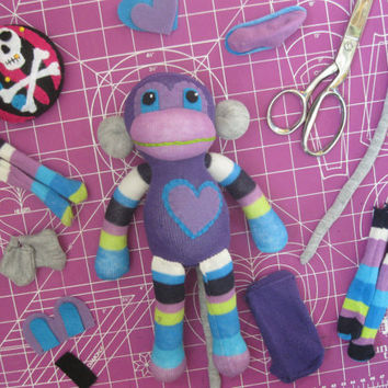 Sock Monkey Plush D.I.Y. Kit No. 724 - No Sewing Machine Needed