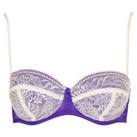 Leafy Lace and Satin Balcony Bra - Lingerie   - Clothing