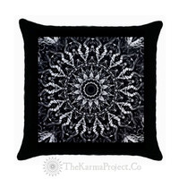 Free Shipping #Pillow #Cover #Art #B&W #Monochromatic #Mandala #Home #Decor #Throw  #Yoga #Boho #Hippie