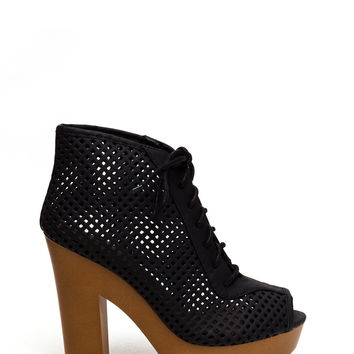 Lattice Rejoice Chunky Heel Booties