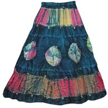 Womans Maxi Skirt Boho Gypsy Blue Tie Dye Peasant Long Skirts