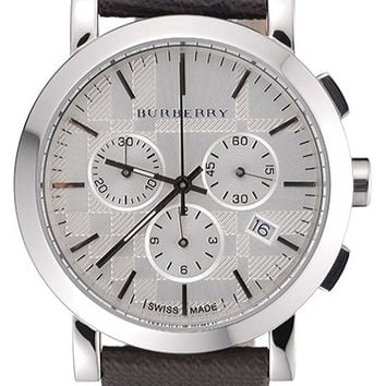 Burberry The City Classic Chronograph Silver Dial Smoked Trench Bracelet 622572
