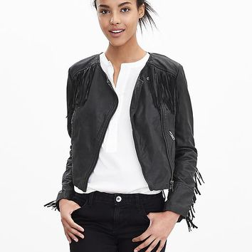 Banana Republic Womens Fringe Leather Moto Jacket