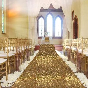 Big Large 4Ftx50Ft Wedding Gold Carpet Aisle Runner Birthday Party Hollywood Event Decoration Wedding Sequin Aisle Floor Runner