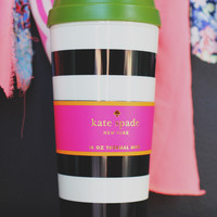 Kate Spade Black Stripe Thermal Mug