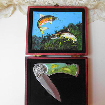 Fish Fisherman's Collectible Folding Knife Locking Knife with Wood Box Father's Day Birthday Christmas Man Cave Decor Fisherman's Gift