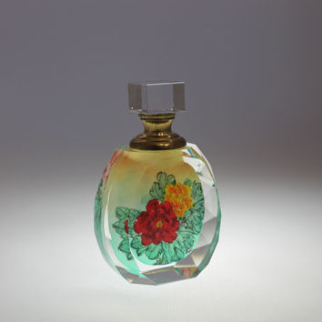 Glass Art Fragrance Perfume Bottle Collectible - Hand Painted, Handmade Modern Art, Vintage Antique Style Painting, Twin Flowers PBR02-020