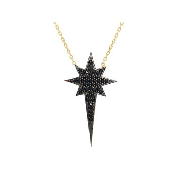 """Silver Gold Plated 1.25"""" North Star  Black Cz Pendant  16"""" + 2"""" Necklace"""