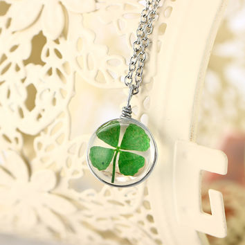 4 Style Silver Plated Vintage Lucky Clover Jewelry with Round Glass Dried Flower Clover Choker Long Pendant Necklace for Women