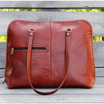 Designer Handbag, Leather Tote Cognac, Business woman Bag