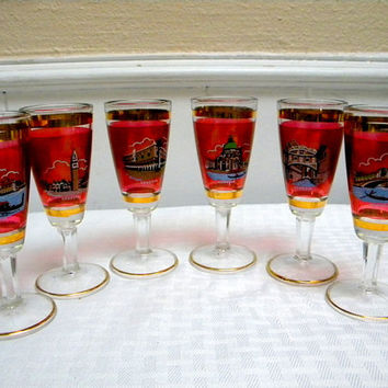 Venetian glass red cordials set of 6 with scenes of Venice