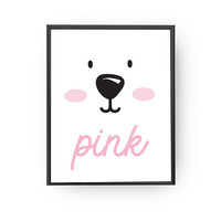 Pink Poster, Children Education, Baby Poster, Nursery Art, Bear Print, Learning Colors, Classroom Decor, Kids Wall Decor, Children Poster