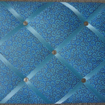 10% OFF Memo/ Picture Board Blue Gold Swirls French Ribbon Memo Board