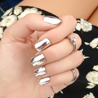 24pcs new fake nails Metal Silver bride nail art Shiny Nail products Patch manicure fashion press on nails Art Tips With Glue