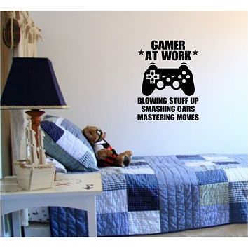Gamer At Work Old School Vintage Video Game Decal Sticker Wall Boy Girl Teen