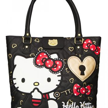 """Hello Kitty Lock & Key"" Fashion Tote Handbag by Loungefly (Black)"