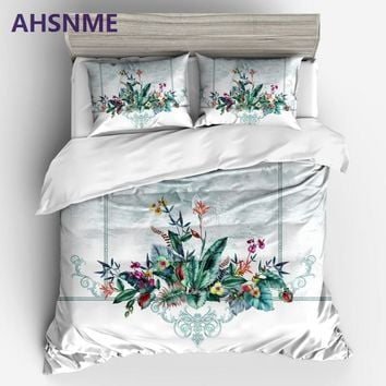 AHSNME high-end flower vine flower pattern King Queen size Bedding Set Duvet Cover set (Bedding kit can be customized to print)